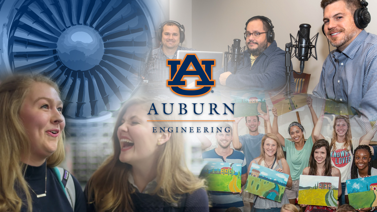 Collage featuring Auburn Engineering communications and marketing initiatives