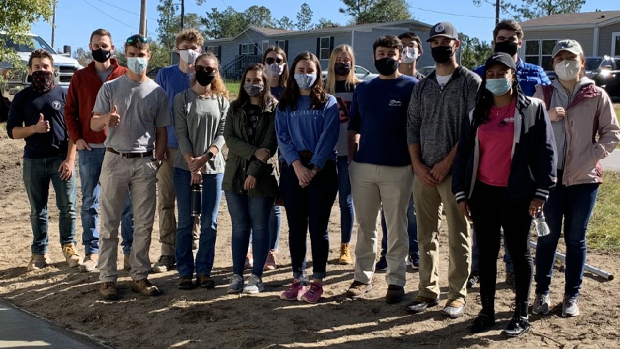 Members of Auburn's ACI student chapter pose during a 2020 service project.