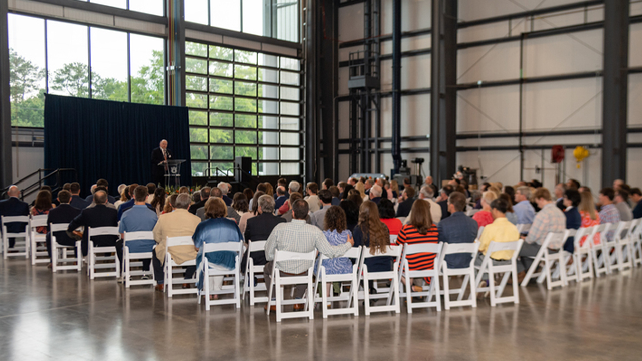 Christopher B. Roberts, dean of engineering, speaks at the dedication of Auburn's $22 million Advanced Structural Engineering Lab.