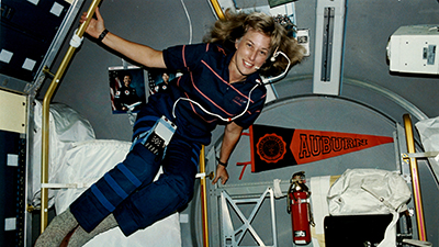 Jan Davis is shown during a space flight