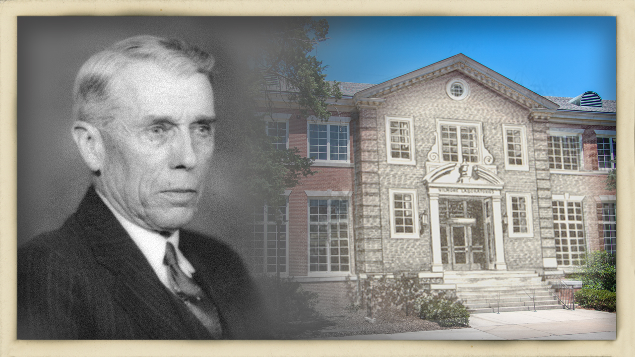 John Jenkins Wilmore is shown with the building that bears his name, the Wilmore Laboratories.