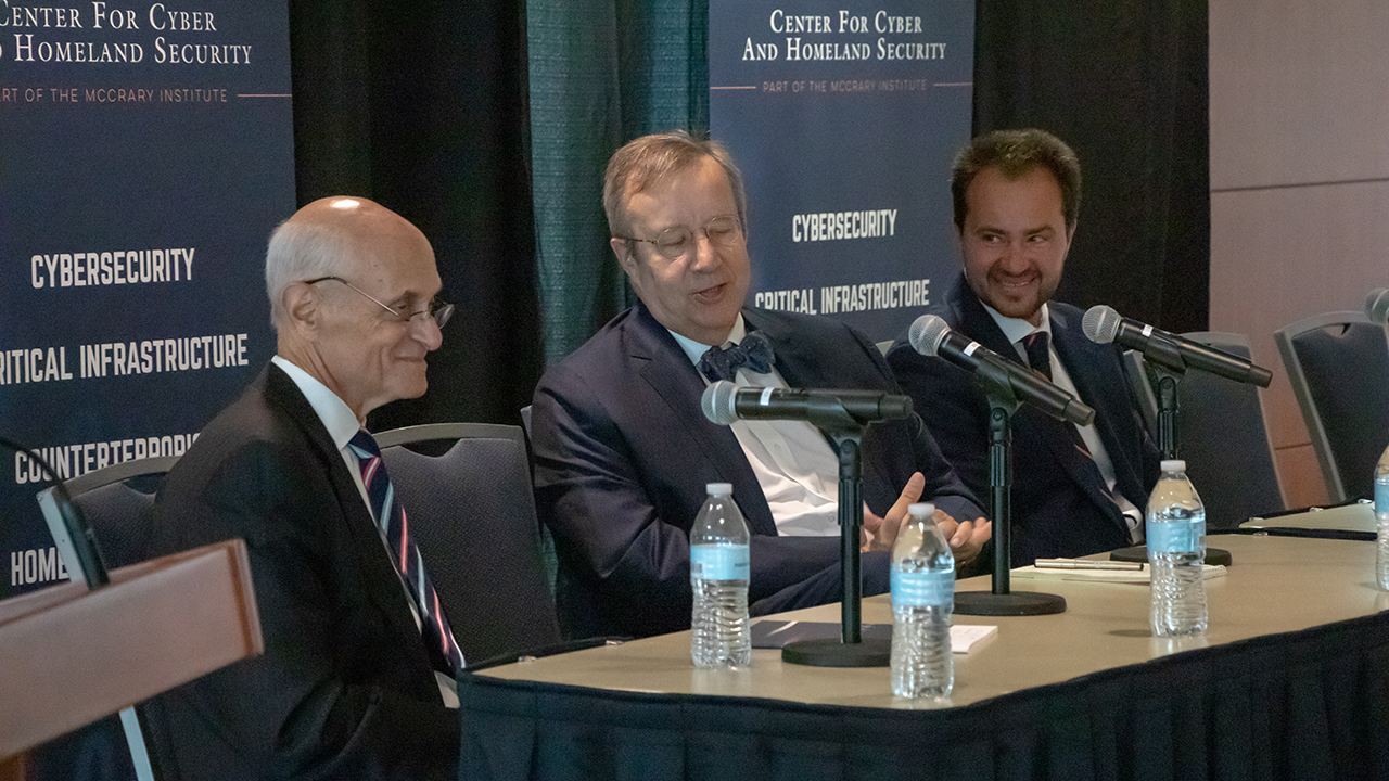 From left: Former Homeland Security Secretary Michael Chertoff, former Estonian President Toomas Hendrik Ilves and McCrary Institute Director Frank Cilluffo