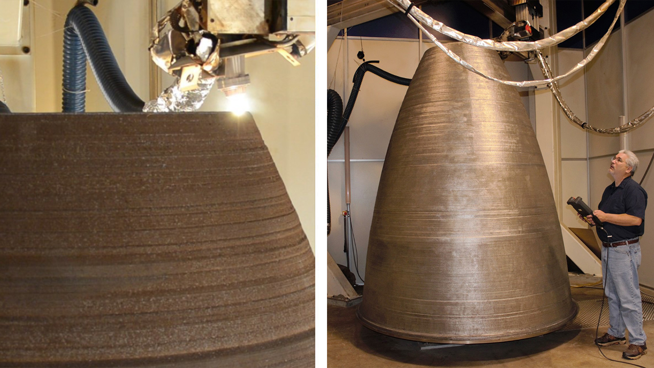 A two-ton additively manufactured full-scale RS25 nozzle liner printed by DM3D Technologies.
