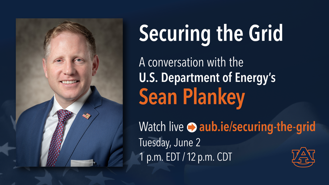 "Sean Plankey from the Department of Energy will present a talk on ""Securing the Grid."""