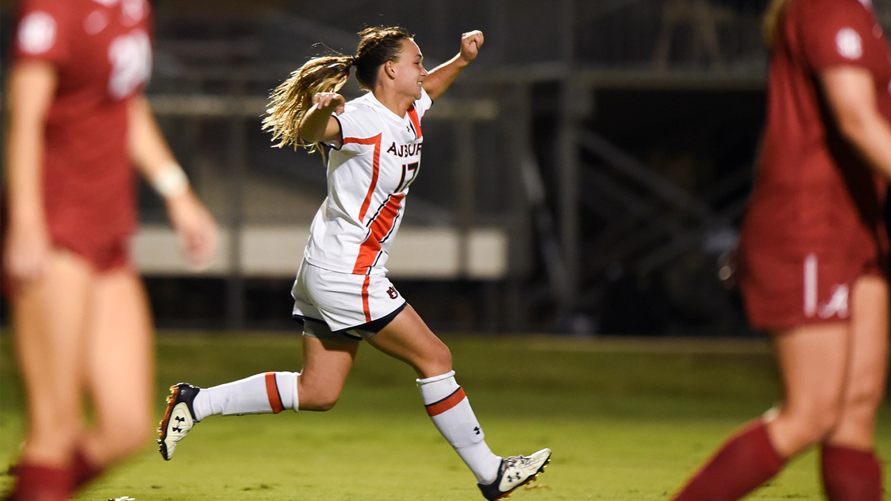Taylor Troutman, '19 mechanical, celebrates after scoring the game-winning goal in Auburn Soccer's 2015 victory over Alabama.