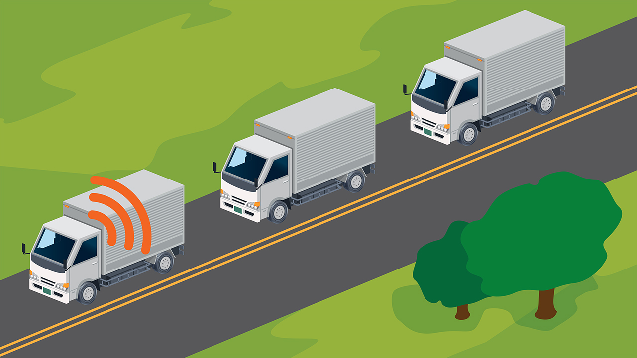 Truck platoons have the potential to increase safety and fuel efficiency.