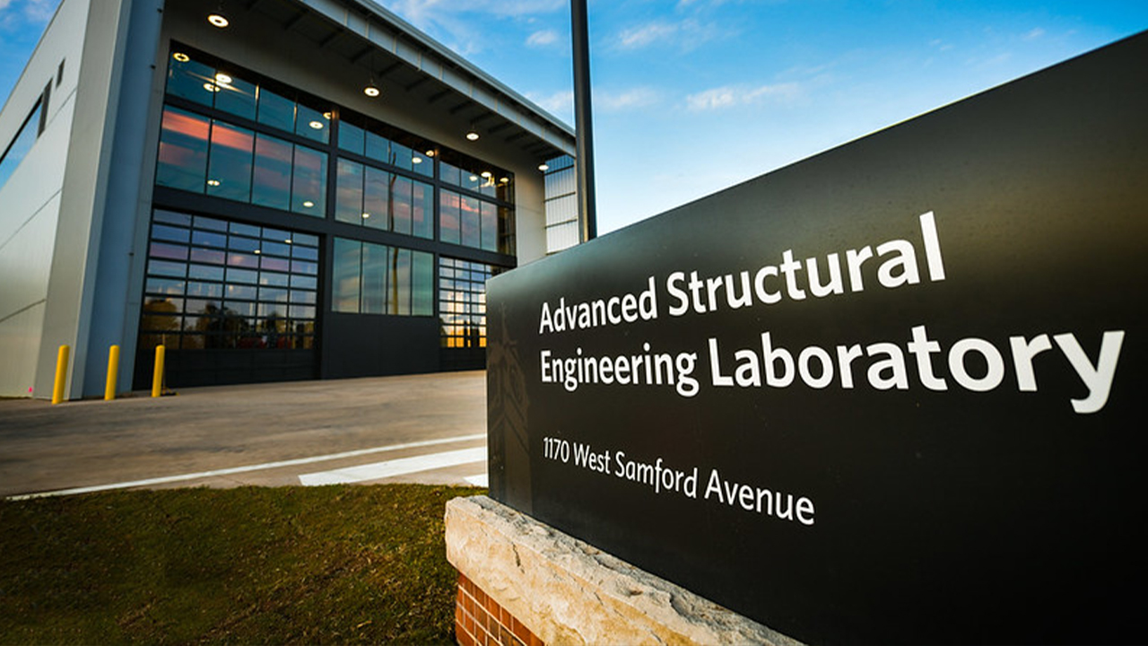 The new Advanced Structural Engineering Laboratory entrance is shown next to its sign.