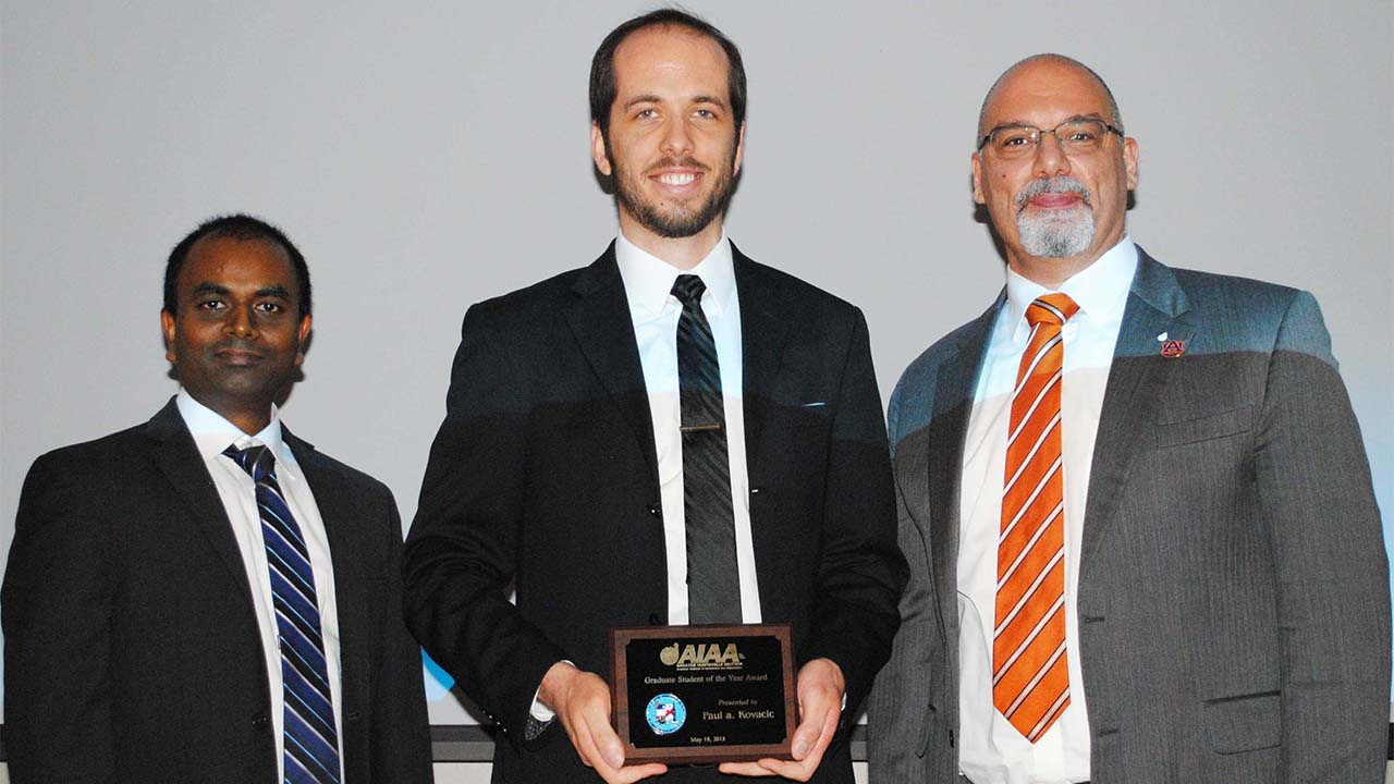Doctoral student Paul Kovacic receives the AIAA's Graduate Student Award