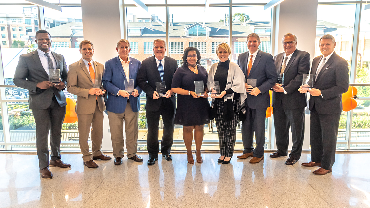 The 2021 Auburn Alumni Engineering Council award winners included T.J. Pruitt, Outstanding Young Auburn Engineer; Ryan Hill, Outstanding Young Auburn Engineer; Brad Corson, Distinguished Auburn Engineer; Gerald Pouncey, Distinguished Auburn Engineer; Regenia Sanders, Distinguished Auburn Engineer; Carol Godfrey, Distinguished Auburn Engineer; Zeke Smith, Distinguished Auburn Engineer; Bob Karcher, Superior Service; and Ed Lewis, Distinguished Auburn Engineer. (Not pictured: Rose-Gaëlle Belinga, Outstanding Young Auburn Engineer)