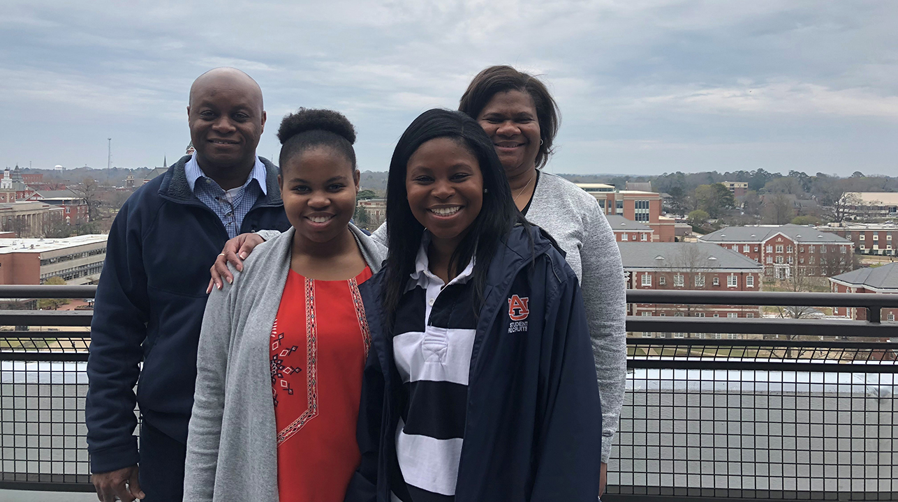 The Foster family, from left: Bernard, '92 industrial engineering, software engineering junior Adia, pharmacy student Zuri and Mendolyn, '92 electrical engineering.