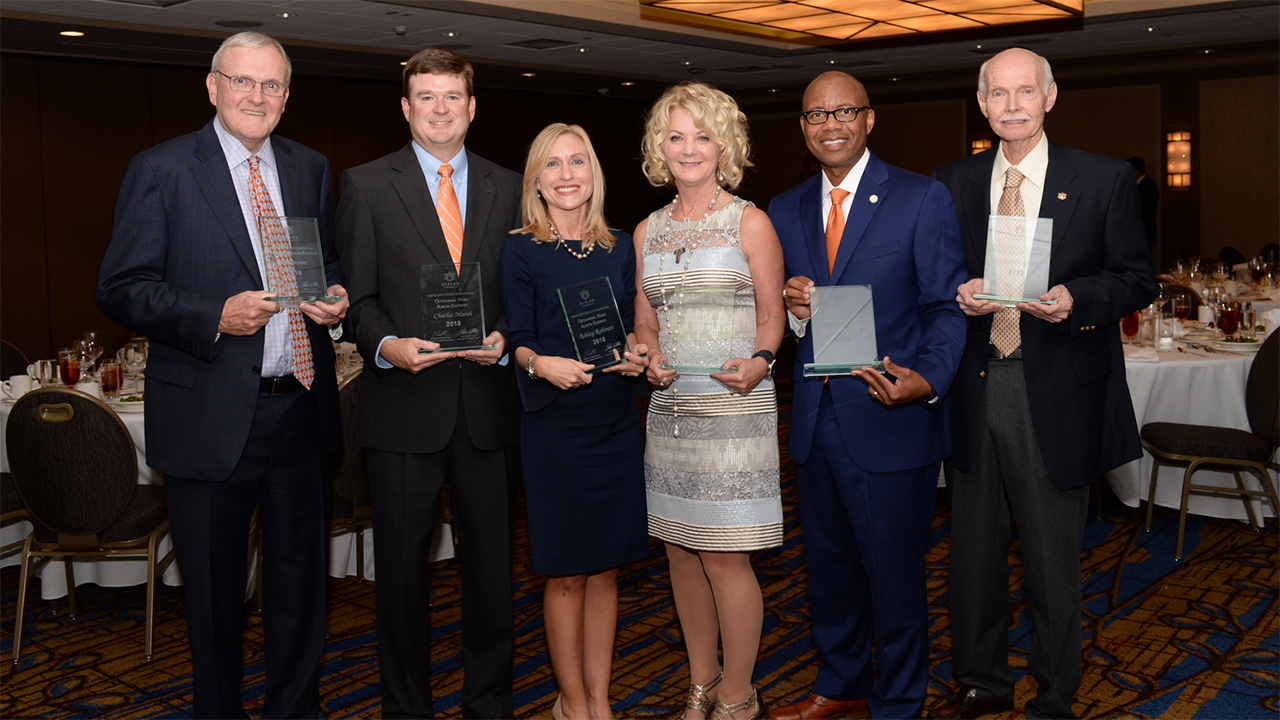 The Auburn Alumni Engineering Council awarded six alumni during its annual honors banquet. Those honored include: (L-R) Joe Cowan, '70 electrical engineering, Distinguished Auburn Engineer; Charles Marsh, '01 civil engineering, Outstanding Young Auburn Engineer; Ashley Robinett, '01 chemical engineering, Outstanding Young Auburn Engineer; Leslee Belluchie, '83 mechanical engineering, Distinguished Auburn Engineer; Kenneth Kelly, '90 electrical engineering, Distinguished Auburn Engineer; and Larry Benefield, '66 civil engineering and dean emeritus, Superior Service.