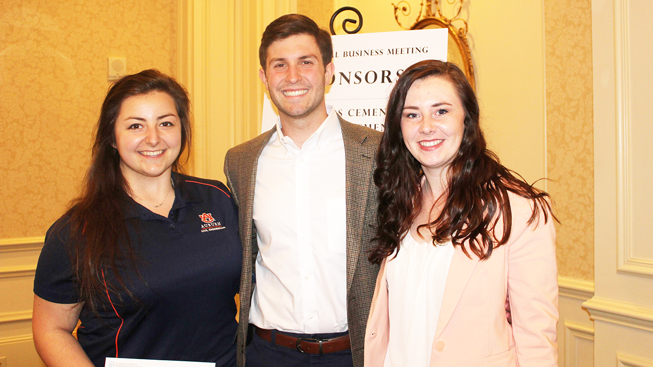 Emily Elia, Austin Chandler and Kelly Turner were each awarded scholarships by the Alabama Concrete Industries Association