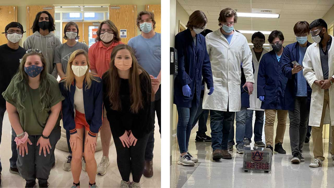 At left is the Auburn University AIChE Jeopardy team. At right, the Chemical Car team completes a test run of their shoe-box sized vehicle, powered and stopped by chemical reactions.