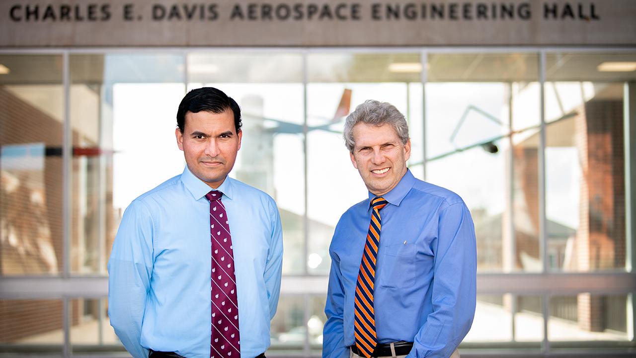 Aerospace engineering professors Imon Chakraborty and Roy Hartfield