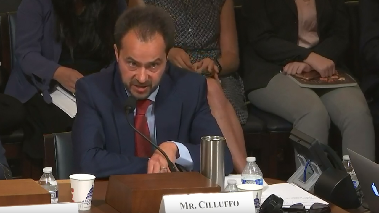 Cilluffo will testify Thursday in front of the U.S. House of Representatives' Armed Services Committee's Subcommittee on Intelligence and Emerging Threats and Capabilities.