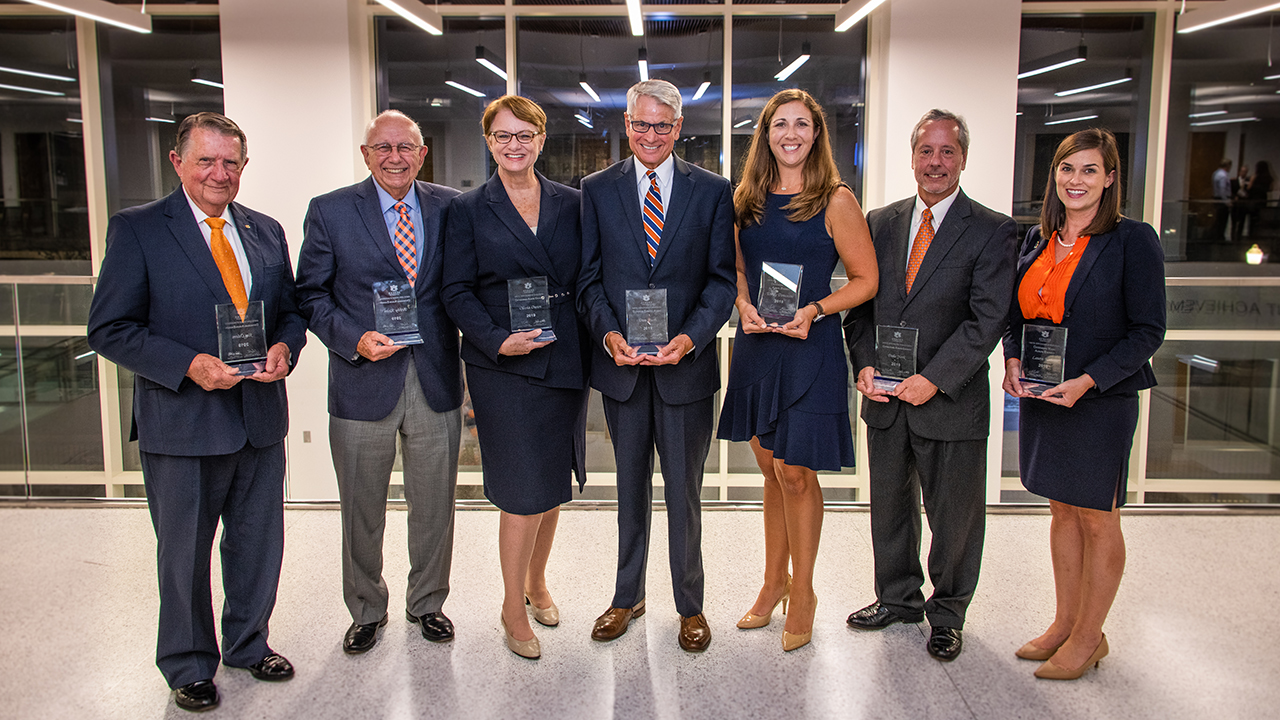 Jim Odom, '55 mechanical engineering, Distinguished Auburn Engineer; Bobby Keith, '63 mechanical engineering, Distinguished Auburn Engineer; Olivia Owen, '77 civil engineering, Distinguished Auburn Engineer; Dan Bush, '72 industrial engineering, Superior Service; Emily Doucette, '06, '08 and '12 aerospace engineering, Outstanding Young Auburn Engineer; Dale York, '76 and '78 civil engineering, Distinguished Auburn Engineer; and Laura Kezar, '08 chemical engineering, Outstanding Young Auburn Engineer.