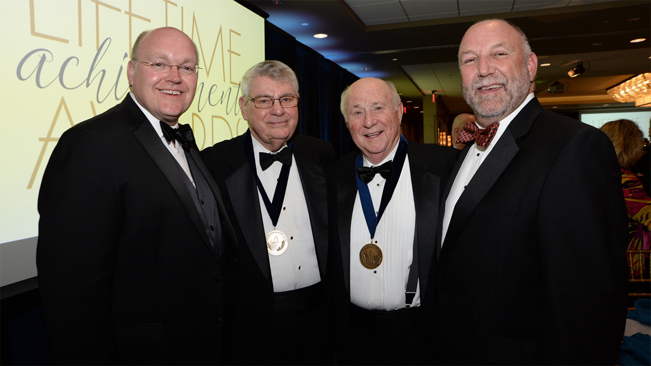 Shown from left are Dean Christopher B. Roberts, Keith King, Charles Gavin and President Steven Leath.
