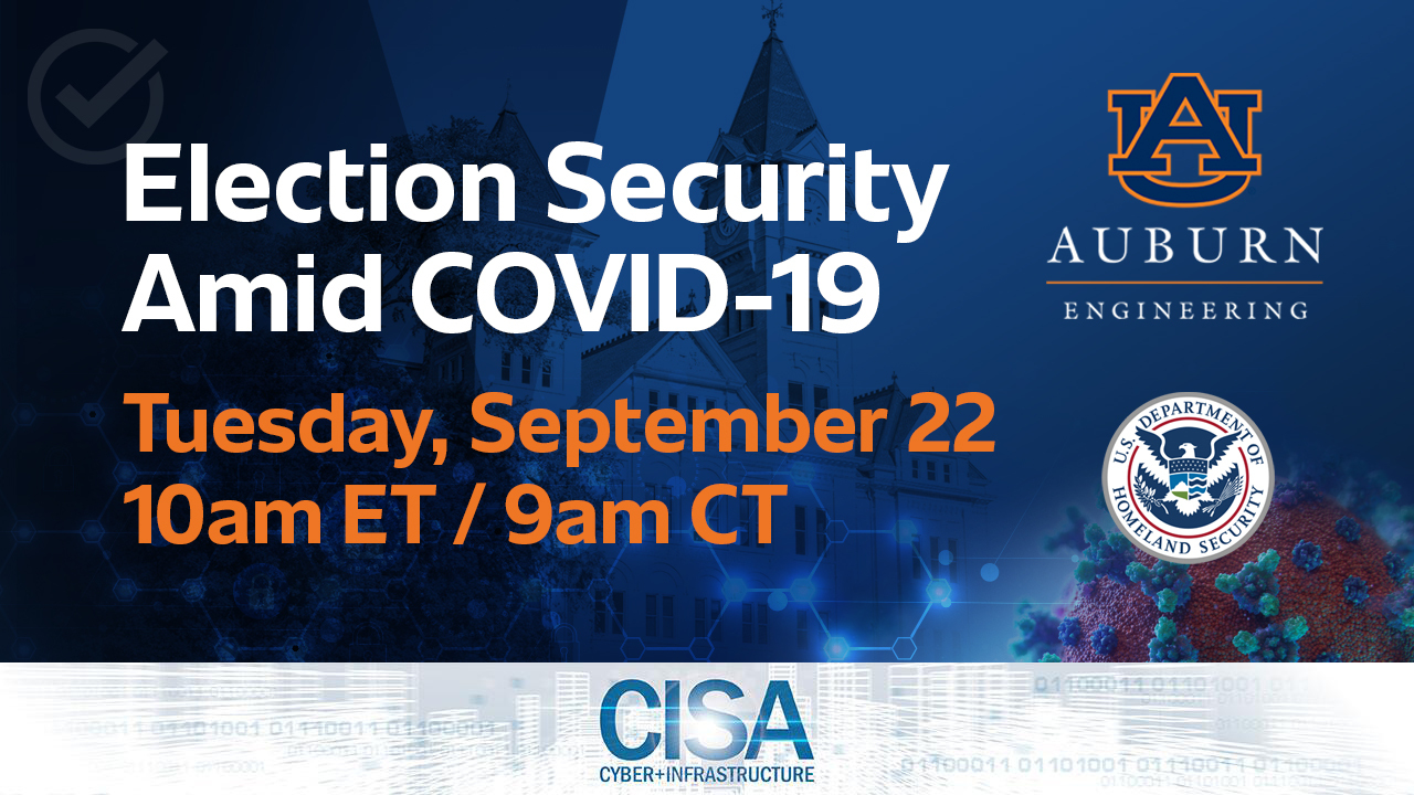 Auburn University's McCrary Institute will host a virtual event Tuesday, Sept. 22, with special guest Matt Masterson, senior advisor for election security for the Department of Homeland Security's Cybersecurity and Infrastructure Security Agency.