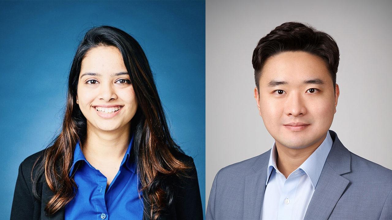 Chemical engineering graduate students Vinita Shinde and Luca Kim.