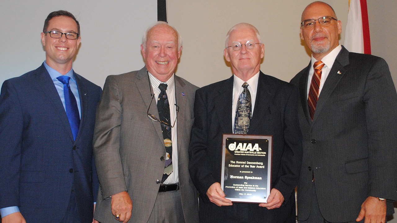 Major Alex Jehle, AIAA section chair; Kenny Mitchell, standing in for Jackie Dannenberg; Norm Speakman, professor of aerospace engineering; and Joe Majdalani, the Hugh and Loeda Francis Chair of Excellence in aerospace engineering.