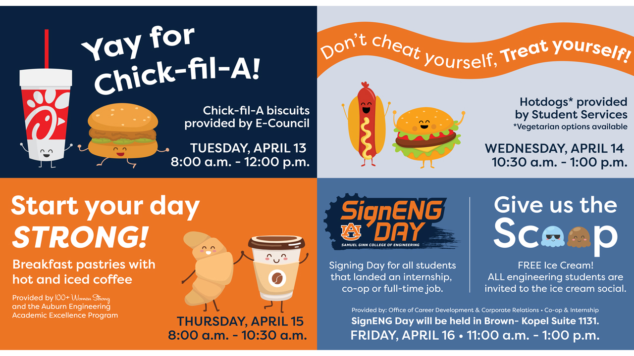 Engineering Spirit Week begins Tuesday, April 13.