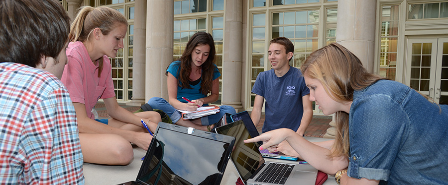 Students outside studying