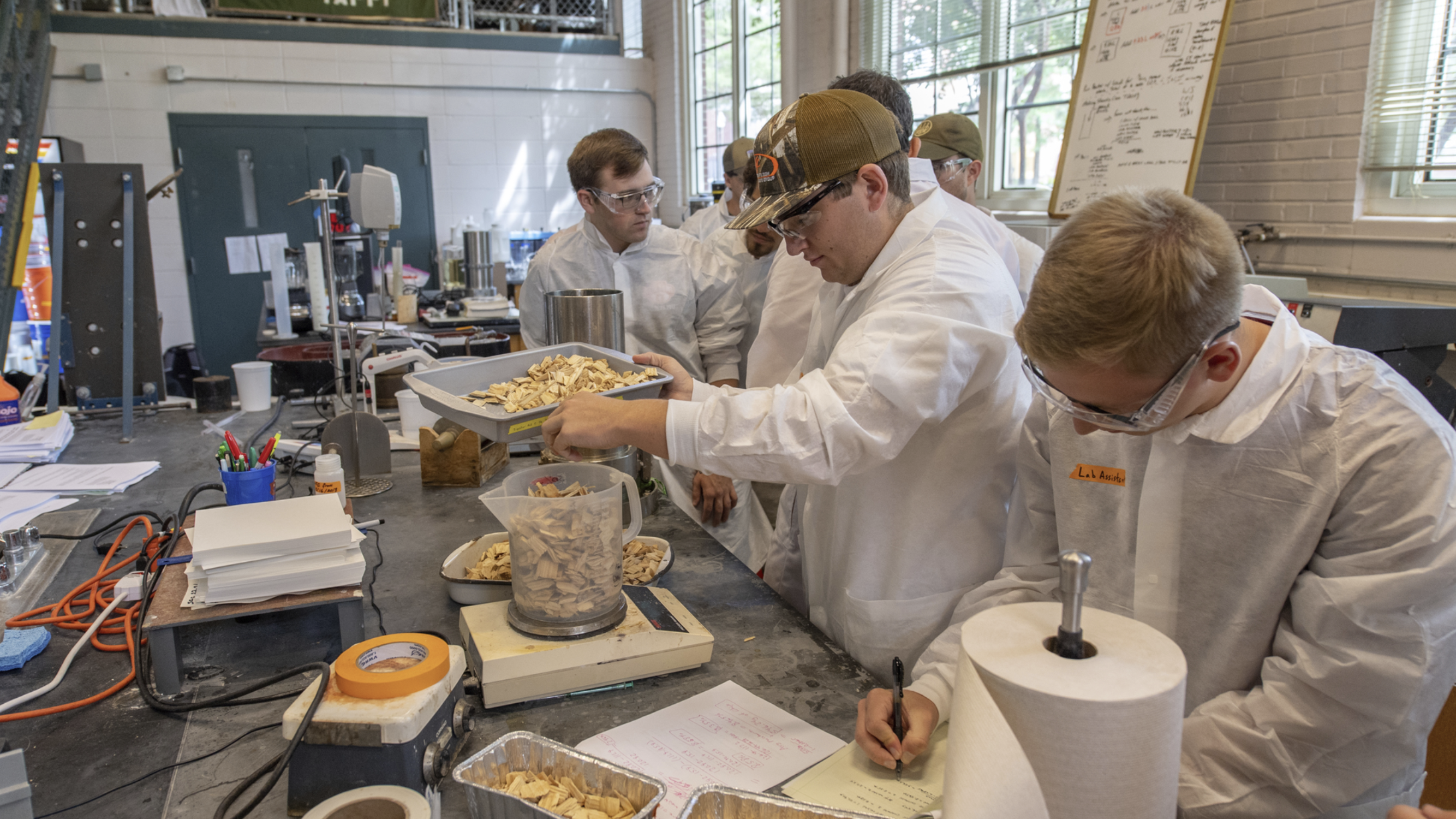 Auburn University chemical engineering students conduct research with the Auburn Pulp and Paper Foundation.