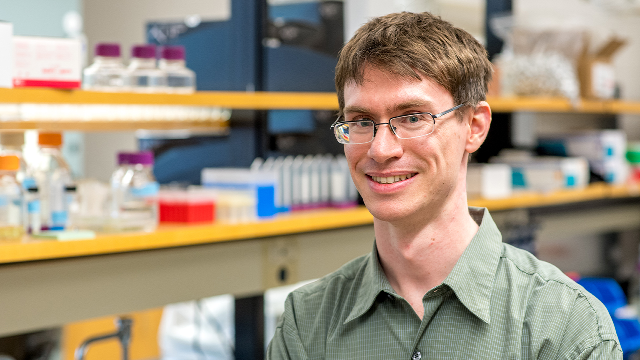 Brendan Higgins, assistant professor of biosystems engineering, in his lab.