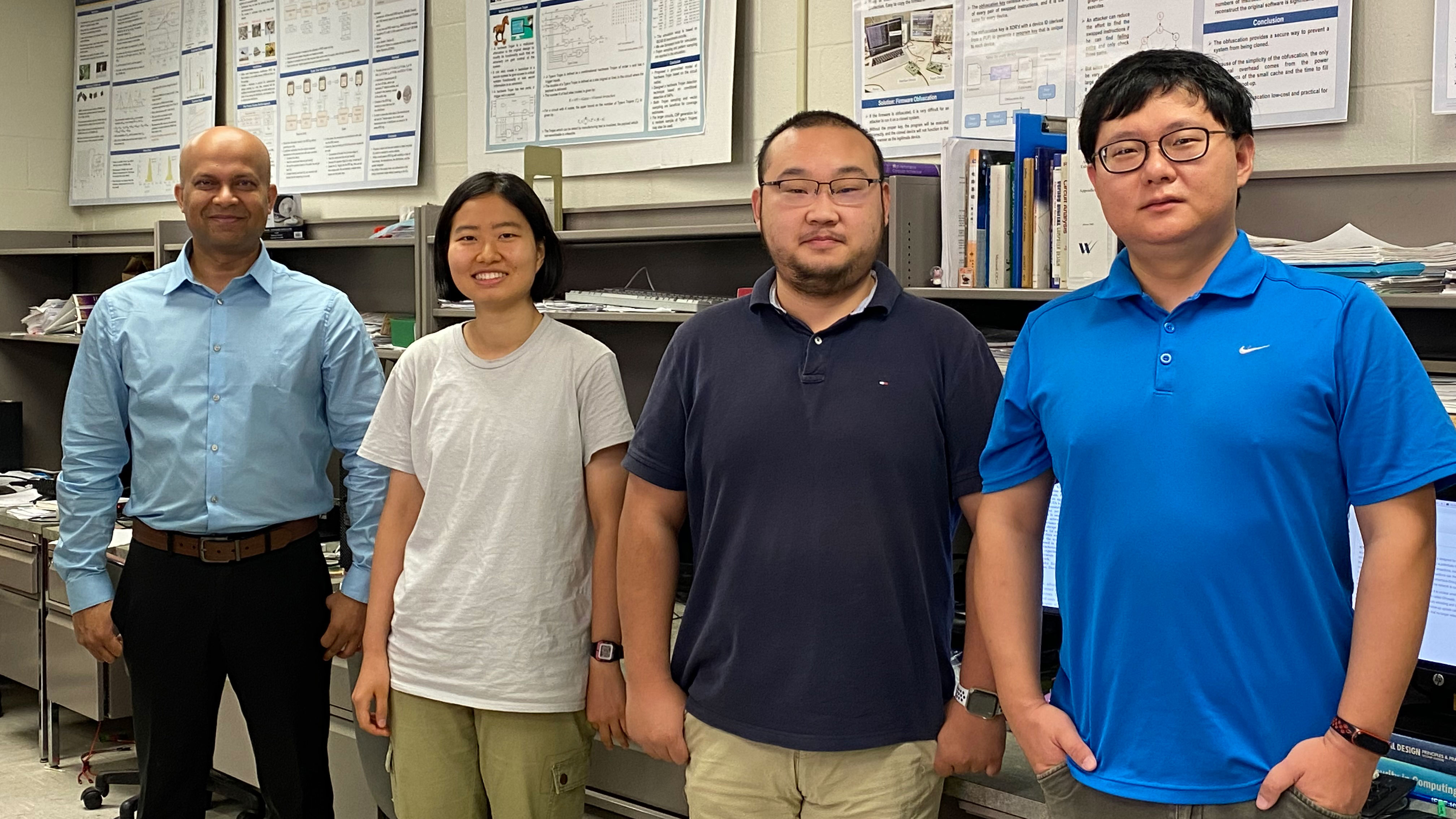 Dr. Ujjwal Guin, assistant professor in electrical and computer engineering, with graduate students Yadi Zhong, Yuqiao Zhang, and Ziqi Zhou.