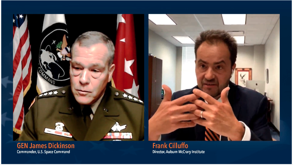 Gen. James Dickinson, commander of the U.S. Space Command, with Frank Cilluffo, director of the McCrary Institute, during Tuesday's live-streamed event.