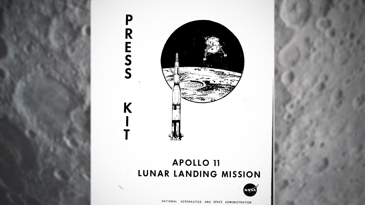 The cover of NASA's official press kit for the Apollo 11 Lunar Landing Mission.