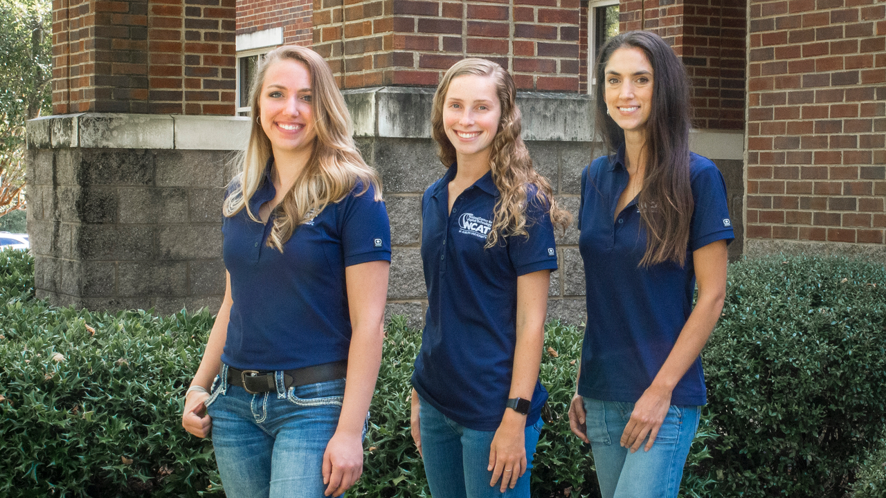 NCAT graduate students (from left to right) Tiana Lynn, Megan Foshee and Faustina Keuliyan have been awarded AAPT scholarships.