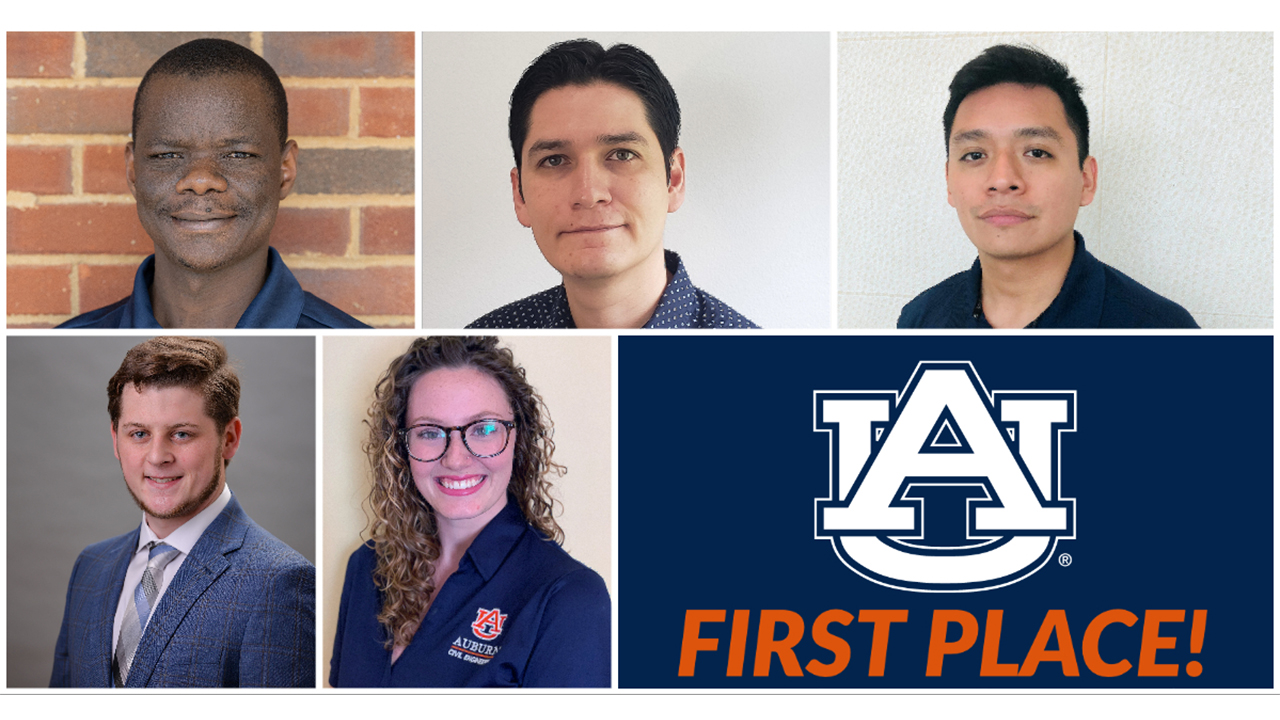 Auburn Engineering students Mo Fortunatus, David Vivanco, Danny Martinez, Zachary Pace and Madison Eason.