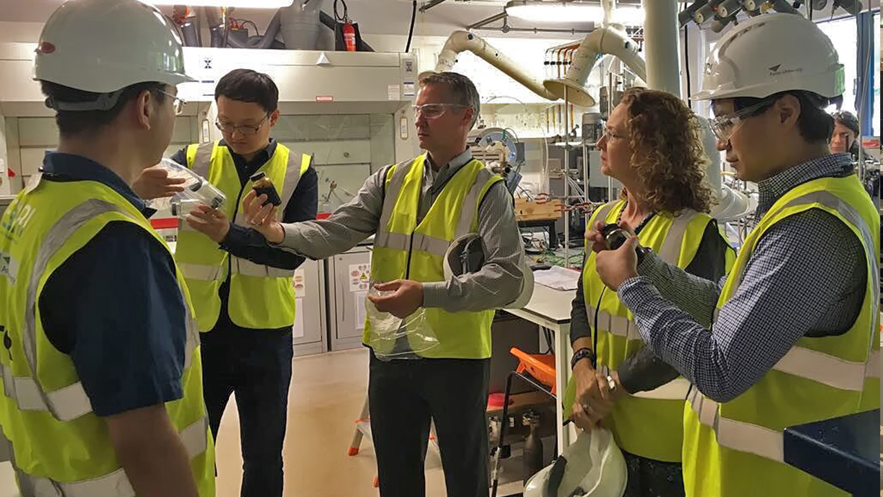 NCAT Director Randy West (center) tours the European Bioenergy Research Institute at Aston University as part of a two-week trip during his fellowship.